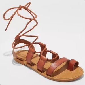 Women's Lace Up Gladiator Sandals - cognac